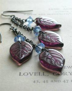 Hellebore - Handmade Earrings, Vintage Glass and Sterling