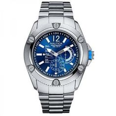 Mens #watch #nautica nsr 04 a17537g multifunction #steel bracelet bleu,  View more on the LINK: 	http://www.zeppy.io/product/gb/2/161946615431/