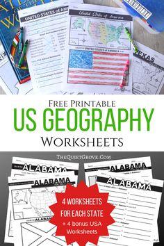 Free Printable US Geography Worksheets