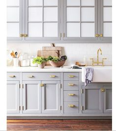 Softer color version of bluish grey cabinets