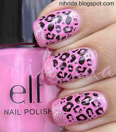 Pink Leopard nail design-- would be so cute on the toes!