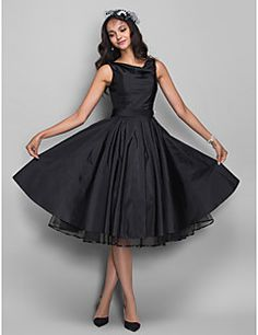 TS Couture Cocktail Party /  Dress - Black Plus Sizes / Petite A-line Cowl Knee-length Taffeta