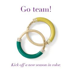 """lia sophia jewelry — """"Chromatic"""" bracelets. Packers, Notre Dame, sports team colors. AND OF COURSE...for the Mizzou fans, there is a beautiful JET bracelet as well.  So, you could wear the JET  and the MARIGOLD and be ready for a MIZZOU game.  This also comes in white and pink called TECHNICOLOR. $98, but again, you can get these for half price and better yet...for FREE!  Just ask me!"""