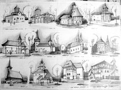 house and church drawings