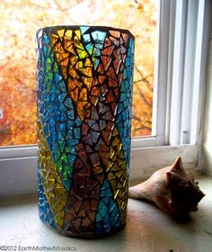 Stained Glass Mosaic Vase Candle Holder by earthmothermosaics