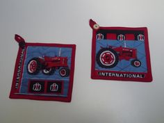 Farmall Tractor Potholder Set Reduced by kountylinekreations, $12.00