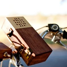 Ride your bicycle while blasting your favorite music from your smartphone. Handcrafted to wooden perfection, this case will turn heads.