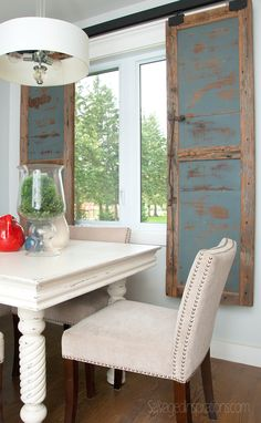 We made these sliding shutters from the top of an antique dining table...repurpose, re-use.... #pleasantpickins