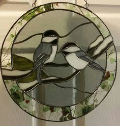 Use of pale grey background looks more natural with these chickadees than the clear textures for this particular design.