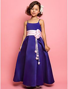 Flower Girl Dress Floor-length Satin A-line/Princess Sleeveless Dress