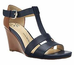 Isaac Mizrahi Live! Leather Color-Block Wedge Sandals