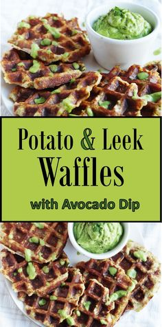 Potato and Leek Waffles with Avocado Dip |Euphoric Vegan