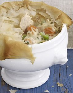The comfort of potpie after a long, cold day always brings smiles, making this Turkey Potpie with Phyllo Crust a quick-and-easy holiday dinner idea.