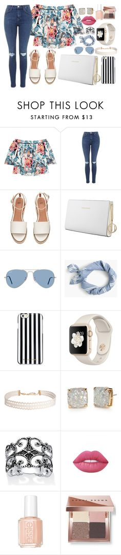 """For......"" by polina18necko ❤ liked on Polyvore featuring Elizabeth and James, Topshop, Trussardi, Ray-Ban, J.Crew, MICHAEL Michael Kors, Humble Chic, Kate Spade, Palm Beach Jewelry and Lime Crime"