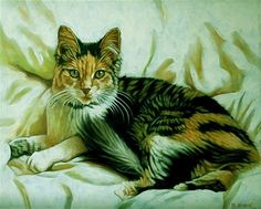 """""""Kitty in a Blanket"""" original oil painting, © 2015 Margaret Horvat. See more paintings by Margaret Horvat at www.horvatart.com."""