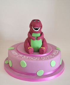 Barney dinosaur birthday cake by madebymariegreen, via Flickr