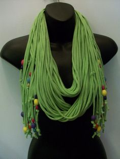Green infinity chunky shredded up cycled recycled boho  by LamaLuz, $28.00