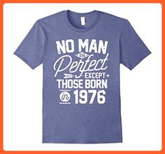 Mens 41st Birthday Shirt for 41 Years Old No Man Is Perfect 1976 Large Heather Blue - Birthday shirts (*Partner-Link)