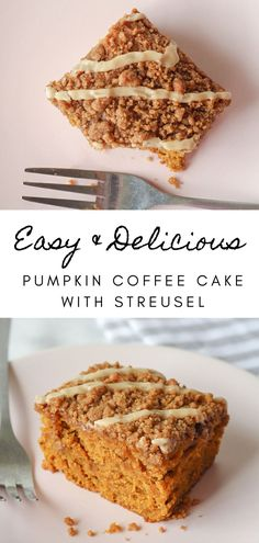 Easy and delicious pumpkin coffee cake! The perfect fall dessert recipe. If you love pumpkin dessert recipe, you are going to love this easy pumpkin coffee cake. Moist pumpkin cake, topped with delicious brown sugar streusel, and vanilla glaze. The BEST pumpkin recipe for fall! This is an easy recipe for a crowd, and a great fall brunch recipe too! A great halloween dessert or Thanksgiving dessert recipe! #coffeecake #falldesserts #pumpkinrecipes #pumpkindesserts Autumn Brunch Recipes, Fall Dessert Recipes, Fall Recipes, Sweet Recipes, Dessert Ideas, Yummy Recipes, Christmas Desserts Easy, Mini Desserts, Easy Desserts