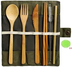 nuosen Bamboo Cutlery Set, Bamboo Travel Utensils Reusable Cutlery Set Include Knife Fork Spoon Chopsticks and Straws Utensil Set, Flatware Set, Bamboo Texture, Bamboo Box, Metal Straws, Food Containers, Biodegradable Products, Pure Products, Natural Products