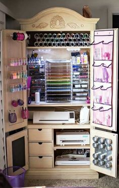 Ideas Craft Storage Armoire Diy Furniture For 2019 Craft Storage Furniture, Craft Storage Cabinets, Craft Cabinet, Craft Room Storage, Craft Organization, Diy Furniture, Organizing Ideas, Paper Storage, Storage Ideas
