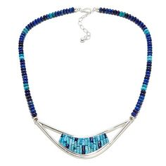 Jay King Blue Basin Turquoise and Lapis Silver Necklace