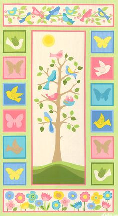 Tree Of Life - Spring Songbird Flannel Quilt Panel - so pretty!