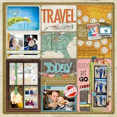Project life - love the scrapbook feel to this layout! Travel Scrapbook Pages, Vacation Scrapbook, Disney Scrapbook, Vacation Pics, Project Life Scrapbook, Project Life Layouts, Scrapbook Sketches, Scrapbook Page Layouts, Scrapbook Paper Crafts