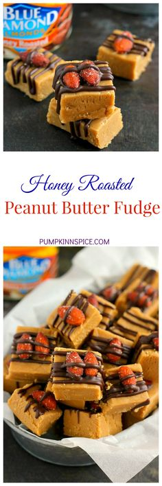 This Honey Roasted Peanut Butter Fudge is smooth, creamy, and filled with a rich peanut butter taste. Topped with Blue Diamond Honey Roasted Almonds and a drizzle of dark chocolate, this easy treat comes together in minutes and is sure to be the perfect dessert for your next party or get-together!