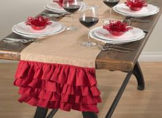 Fennco Styles Capucine Ruffled Holiday Design Burlap Table Runner, Red and Natural Colors Rectangular) Table Runner And Placemats, Burlap Table Runners, Table Runner Pattern, Quilted Table Runners, Brown Lanterns, Dressing Your Table, Christmas Runner, Christmas Tablescapes, Merry Little Christmas