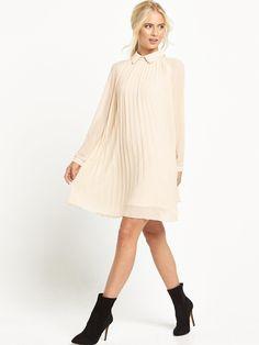 COLLAR PLEATED DRESS