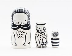 Wee Gallery | Nesting Dolls: Set of 3 Nesting Dolls - Cats Big and Small