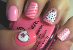 Image discovered by nicevibe. Find images and videos about nails, nail art and nail polish on We Heart It - the app to get lost in what you love. Love Nails, Pink Nails, How To Do Nails, Pretty Nails, My Nails, White Nails, Girls Nails, Fancy Nails, Sugar Nails