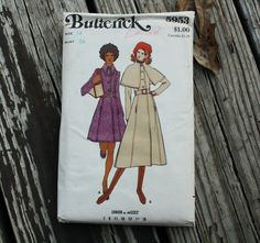 Butterick 5953 1970s 70s Cape Collar Coat by EleanorMeriwether