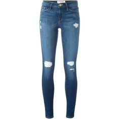 Frame Denim Distressed Skinny Jeans ($328) ❤ liked on Polyvore featuring jeans, pants, blue, destroyed jeans, blue jeans, skinny leg jeans, destructed jeans and ripped skinny jeans