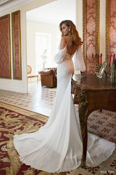 julie vino bridal fall 2015 provence cecile off shoulder long sleeve bishop style sheath wedding dress back view train