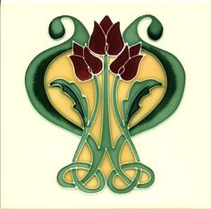 Historic Tiles - Tube Lined Art Nouveau Tiles - Lyre Flower $43.00