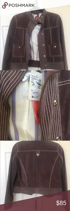 NWT Tory Burch Suede Jacket size medium NWT suede Tory Burch jacket size medium, color is a very muted purple/gray Tory Burch Jackets & Coats