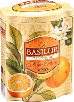 Experience tea with an exquisite citrus taste in this rare combination of zesty tangerine peel, orange flower and other natural citrus fruit like lemons together with Ceylon´s finest leafy black tea. Basilur's Tangerine-Magic Fruits black tea makes for a great refreshing tea.