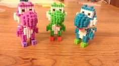3d Perler Yoshi Trio Made from pattern off of Wolleplanets youtube tutorial https://youtu.be/5wsbywkabbE