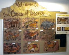 cave art wall display - give them charcoal and a few natural colours or even soil to mix themselves