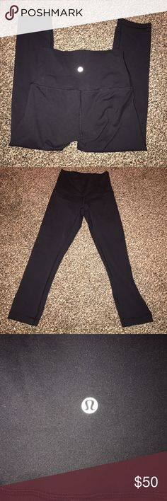 Black Lululemon wunder under high rise crop Lululemon wunder under high rise crop. Size 4. Black. A little faded, but no pilling or damage. I always wash them inside out and on gentle cycle, so they are in very good condition :) lululemon athletica Pants Leggings