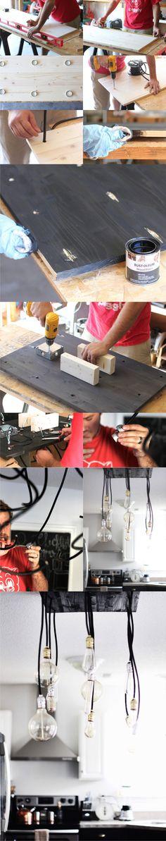 Lámpara DIY con aspecto industrial / Vía http://www.liketheyogurt.com/