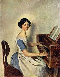 Portrait of a young lady at the piano - Painted by Pavel Fedotov