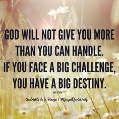 God is with you Gospel Quotes, Joel Osteen, Big Challenge, Gods Love, Destiny, Bible, Faith, Biblia, Love Of God