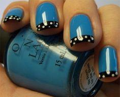 #cute #nailart #nails blue o.p.i nail polish with black french tip and white pokadotsc