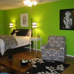 Pretty Sure I Want To Redo My Bedroom In Lime Green, Black, And White