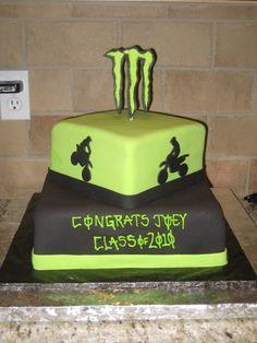 Monster Dirt Bike Cakes | cake cake for a high school grad who loves monster energy dirt bikes ...