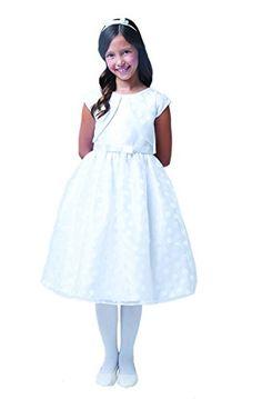 58df65f35c4 Amazon.com  Sweet Kids Big Girls  Polka Dot Organza Burnout Dress  Clothing