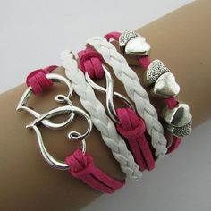 Hearts in love pink-white girl bracelet.